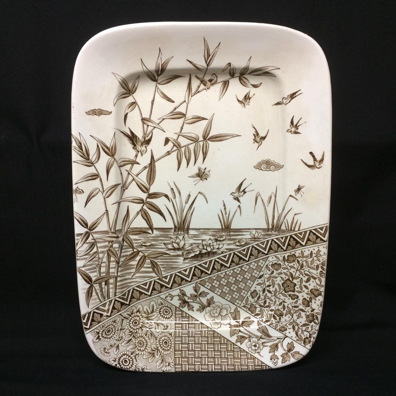 1883 ~ Brown Transfer Printed Platter ~ BURMAH ~ Staffordshire