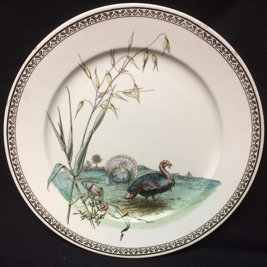 Polychrome Brown Transferware Plate ~ TURKEYS 1887