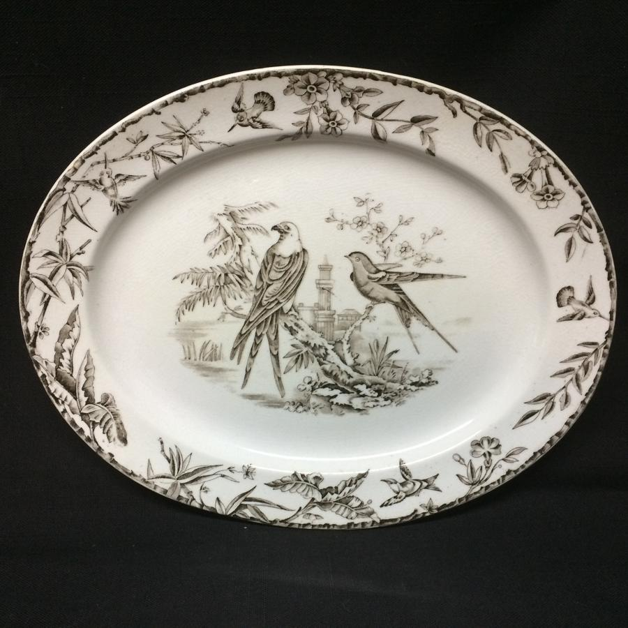 Aesthetic Transferware Polychrome Platter ~ Sparrow Hawk 1877