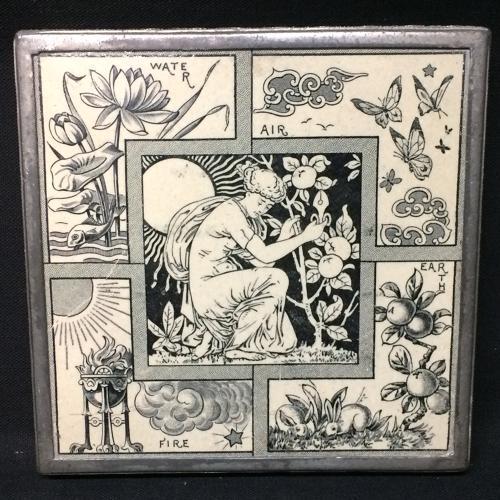 Black Transfer Tile ~ FOUR ELEMENTS 1882 Silver Trivet