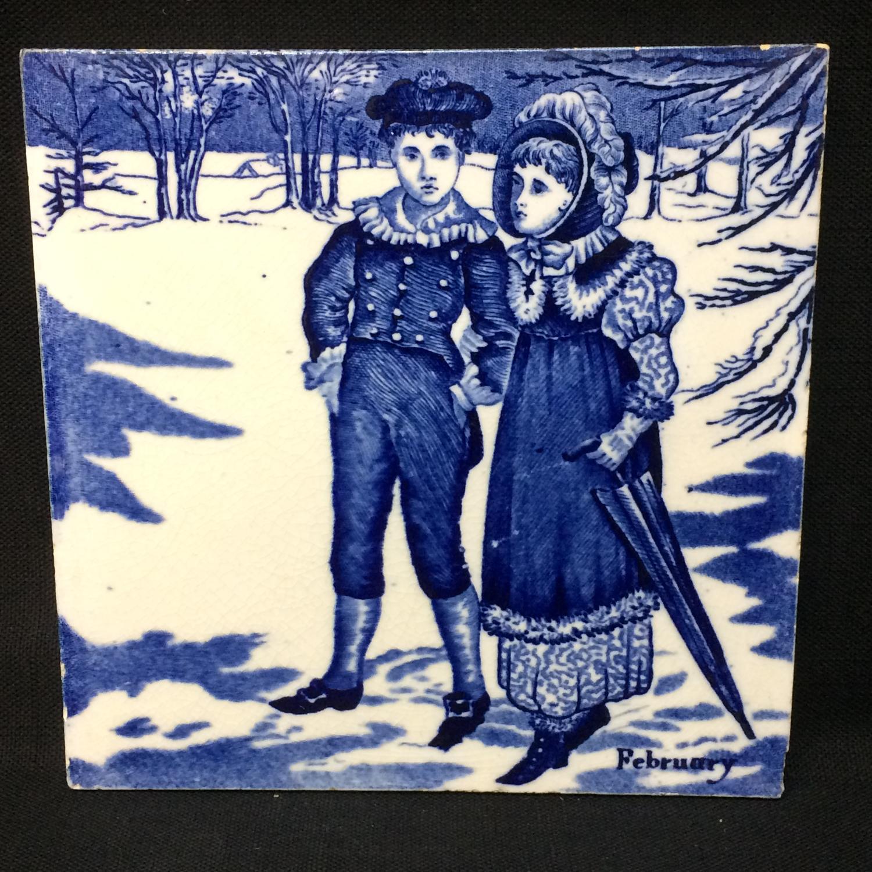 Tile ~ 1879 ~ Wedgwood Months ~ FEBRUARY ~ Helen Miles Artist