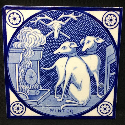 Antique Transfer Printed T & R Boote Tile ~ WINTER 1872 Dogs