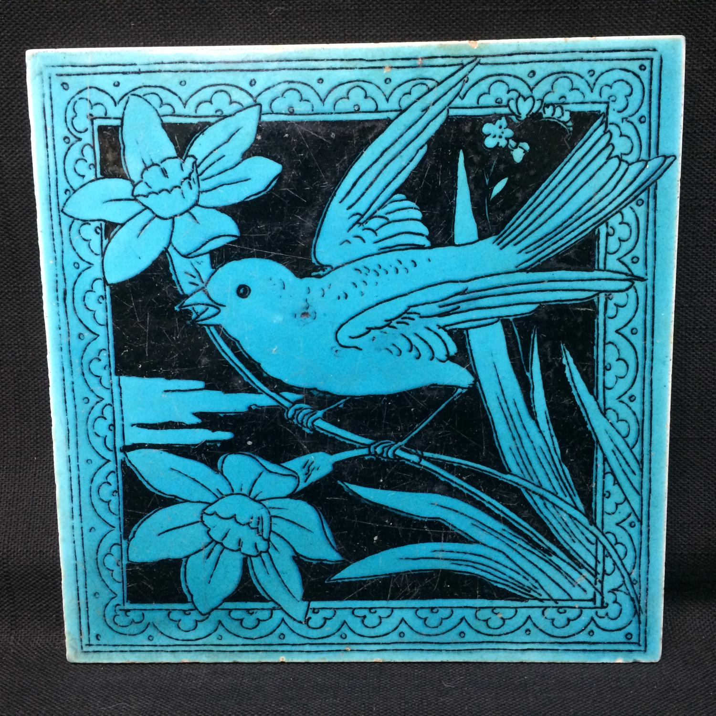 Turquoise Black Transferware Tile Victorian ~ DAFFODIL 1885