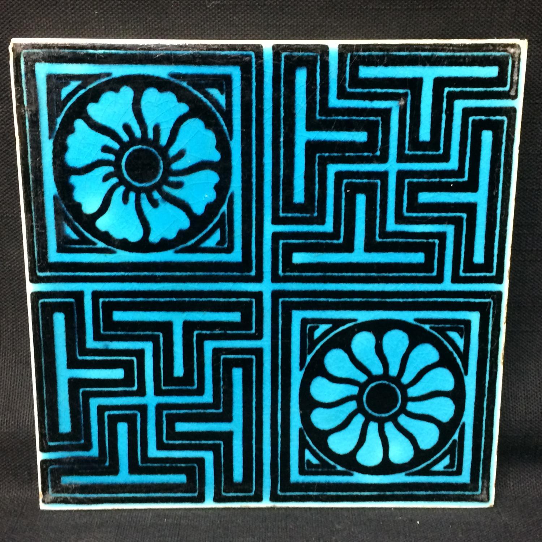 MINTON Turquoise Black Transferware Tile Victorian ~ GEOMETRICS 1885