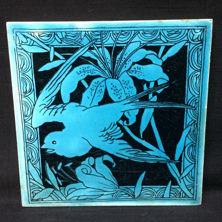 Minton Turquoise Black Transferware Tile Victorian ~ LILY 1885