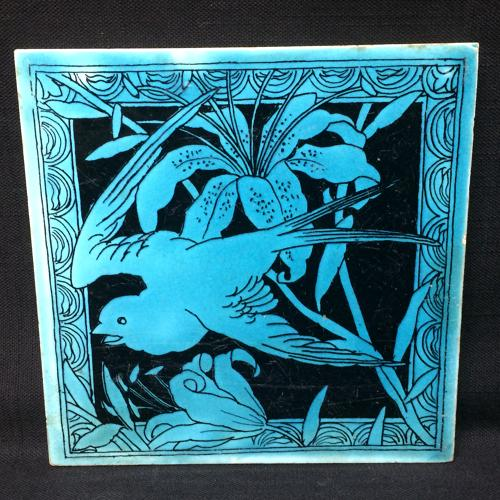 Minton Turquoise Black Transferware Tile Victorian ~ LILY 1885