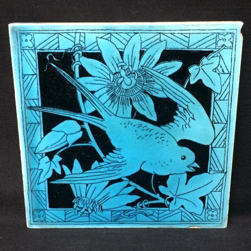 Turquoise Minton Black Transferware Tile ~ Passionflower 1885