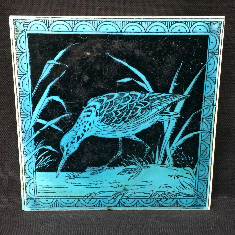 Turquoise Minton Hollins Black Transferware Tile ~ SNIPE 1885