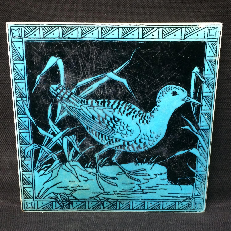 Turquoise Minton Black Transferware Tile ~ SNIPE 1885