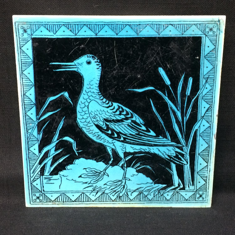 Lavender Black Transferware Tile Victorian ~ SNIPE 1885