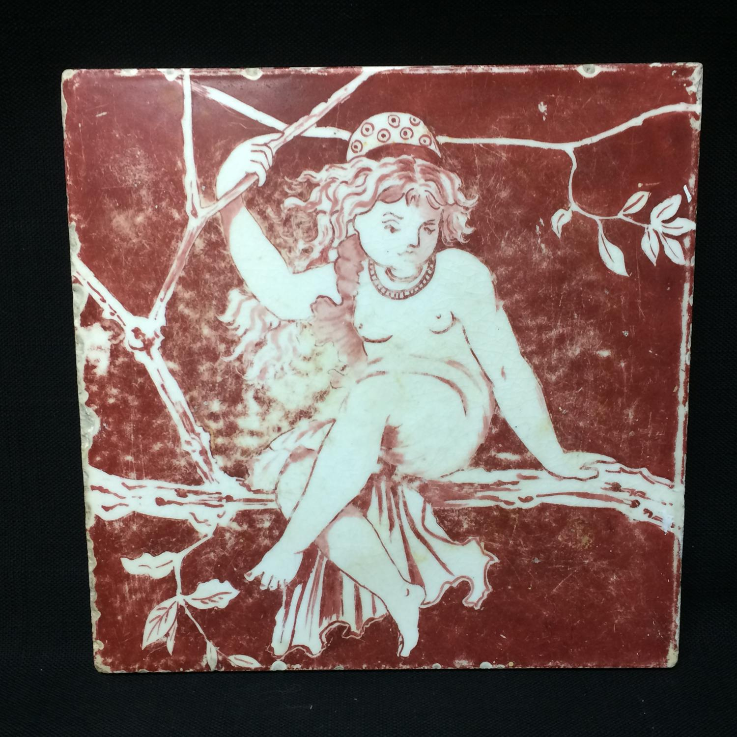 Minton Hand Painted Tile ~ NUDE NYMPH 1870