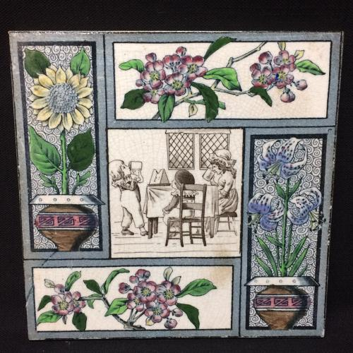 1880 Kate Greenaway Polychrome Tile ~  Children Flowers 1880