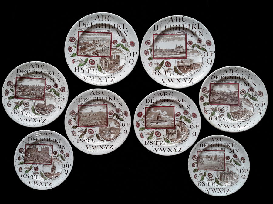 1880 ~ Staffordshire 19th Century Nursery Plates ~ Famous Places