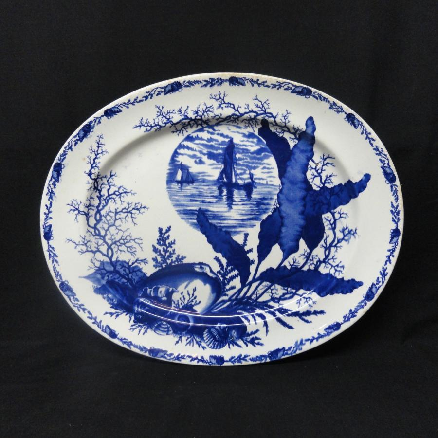 1882 ~ Superb Ironstone Flow Blue Platter ~ OCEANIC & SEA SHELLS