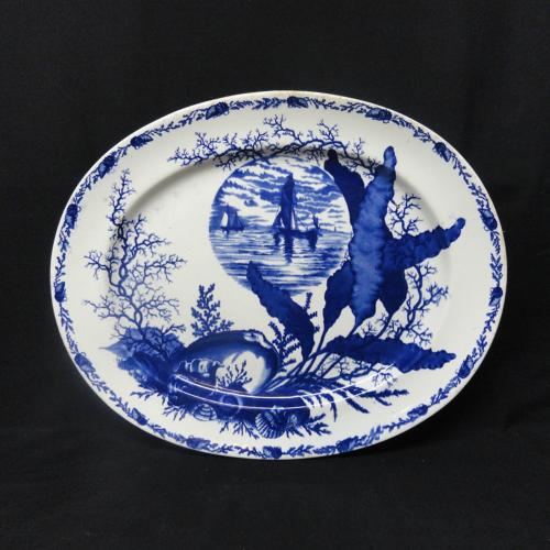 1882 ~ Superb Ironstone Flow Blue Platter ~ OCEANIC & SEA SHELLS