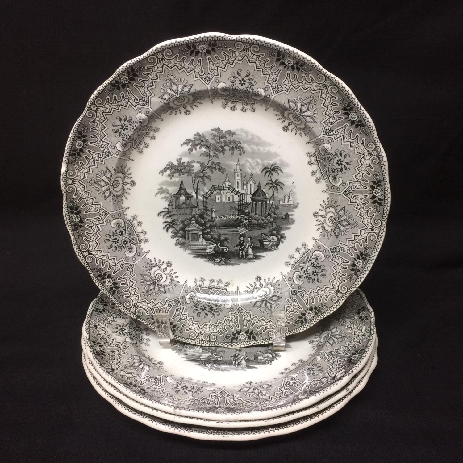 STAFFORDSHIRE BROWN TRANSFERWARE ~ PARK SCENERY 1860