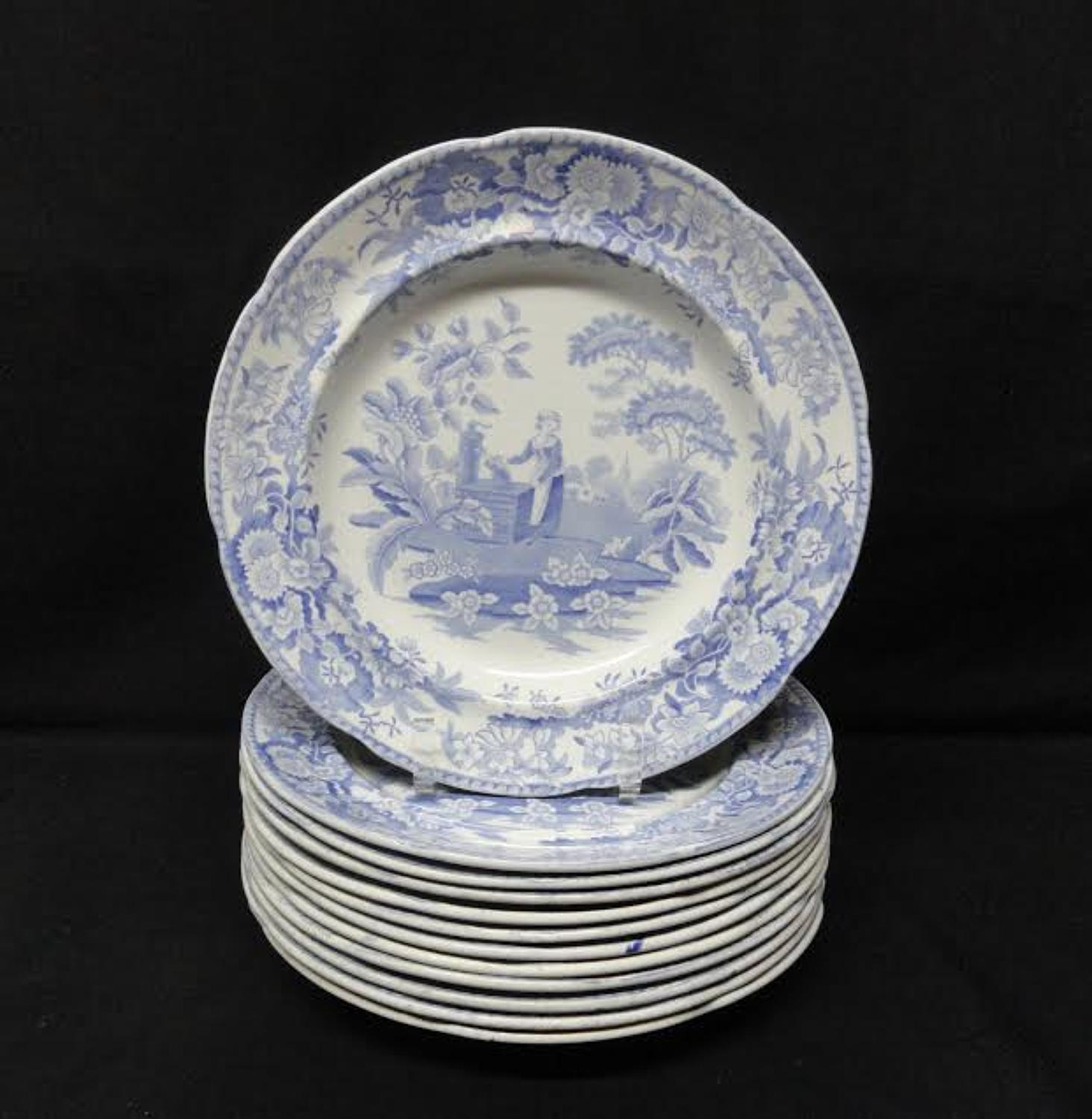 12 ~ Pearlware Blue Transferware Plate ~ Girl at the Well ~ c1823