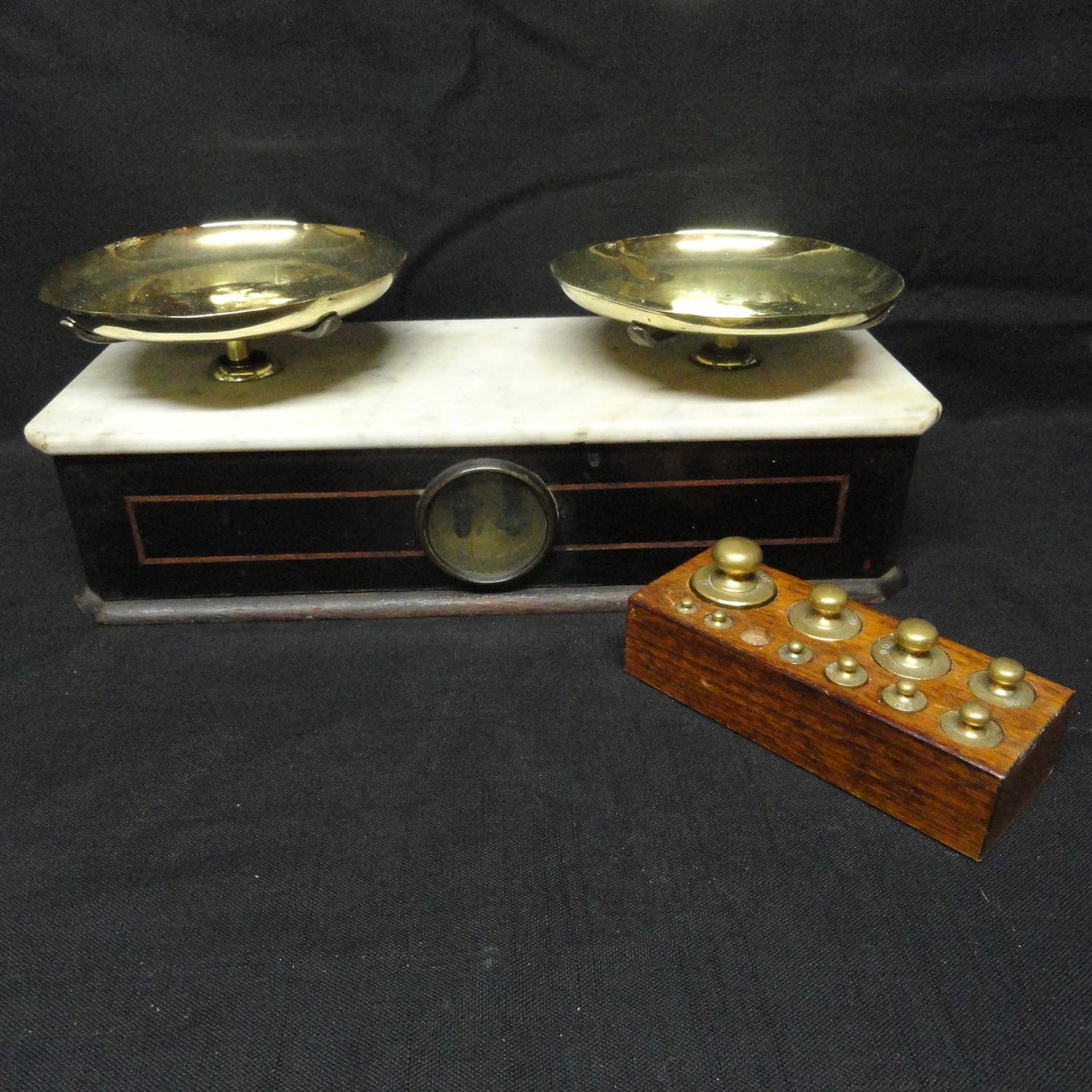 Marble Brass Oak Victorian Scale ~ Apothecary Culinary Scale ~ 1880
