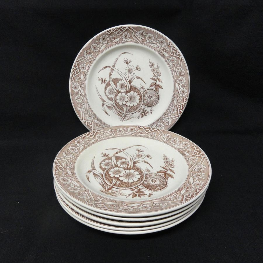 SIX Aesthetic Movement Brown Transferware Plates ~ FLORENCE 1882