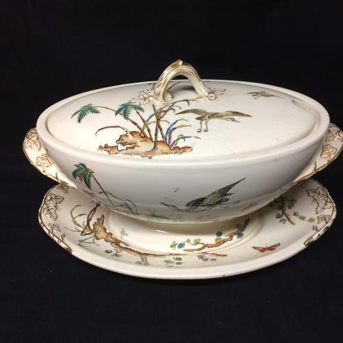 1878 Huge Soup Tureen / Platter ~ Palm Trees ~ Egrets & Butterfly