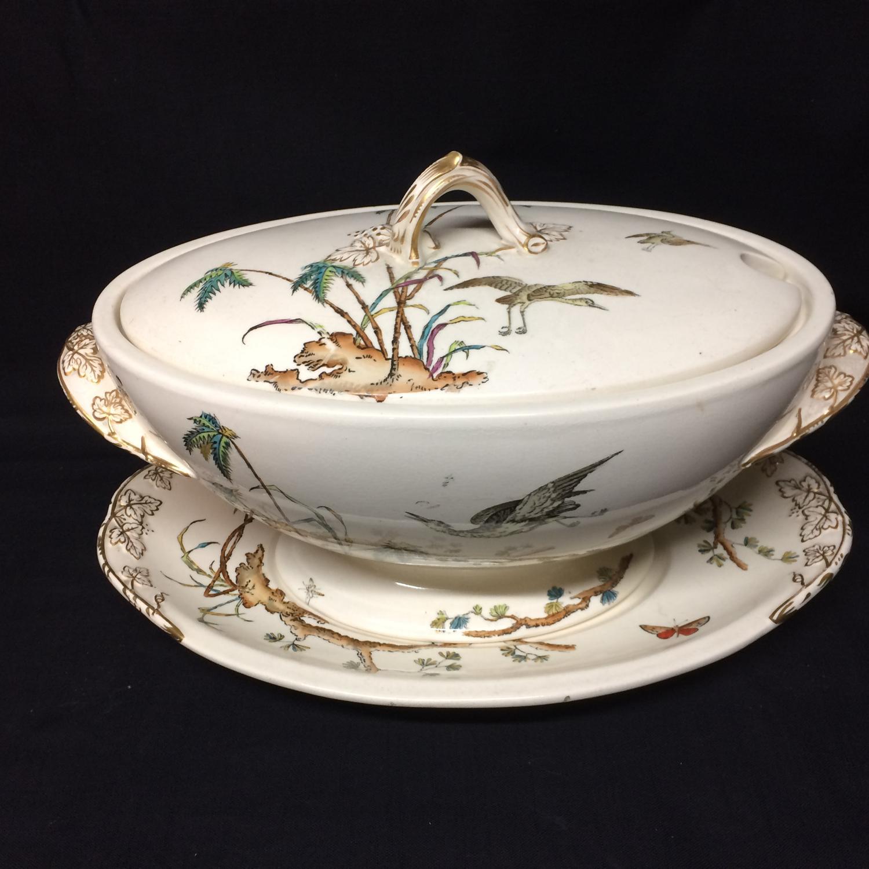 1878 Huge Soup Tureen / Platter ~ Palm Trees ~ Egrets & Butterfly