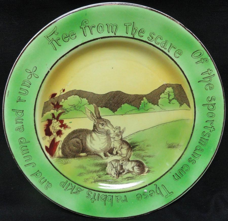 St Augustine Ware Staffordshire Rabbitware Plate ~ c1900