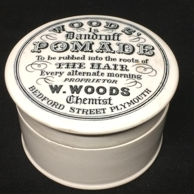 1890 Woods Quack Medicine Dandruff Pomade Pot Lid