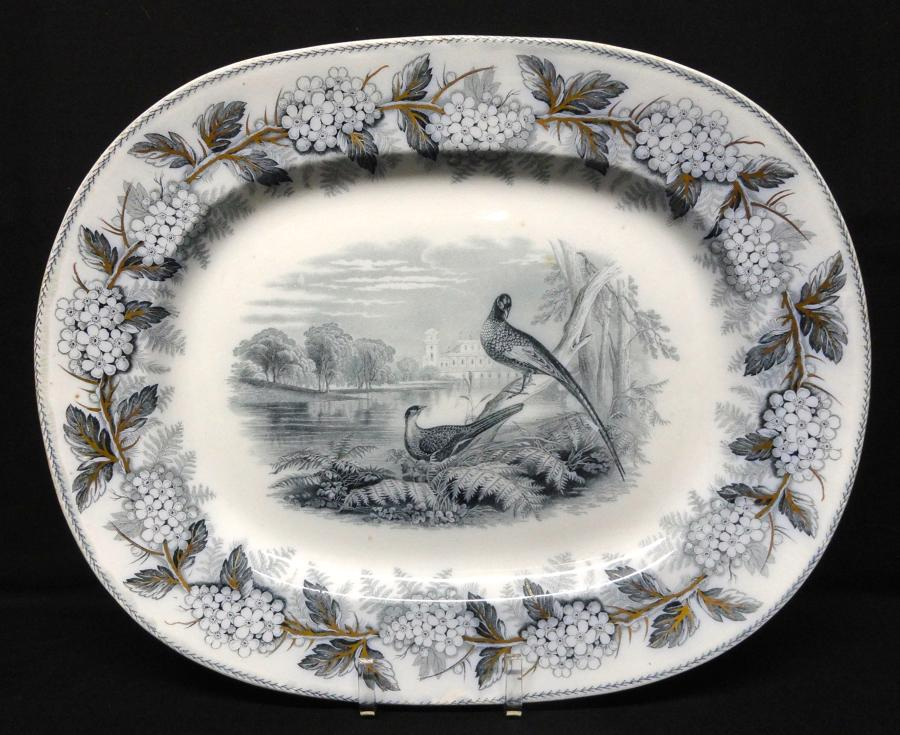 1847 ~ Mulberry Blue Transfer Printed Platter ~ British Birds