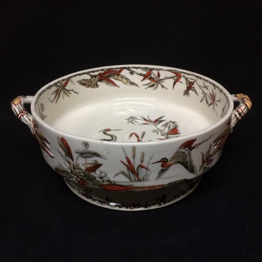 1885 ~ Fruit Bowl Round Brown Transferware BIRDS  ~ Indus