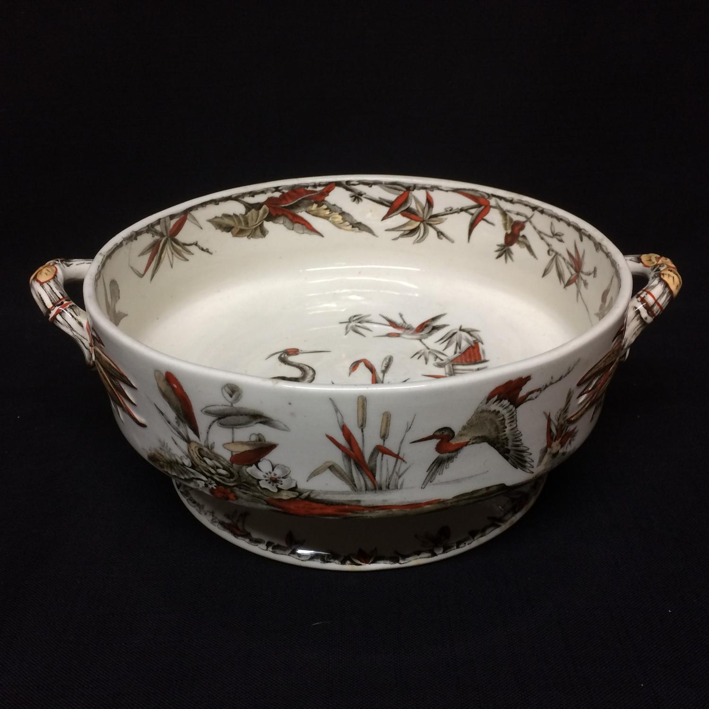 1885 ~ Fruit Bowl Round Brown Transferware BIRDS  ~ Indus