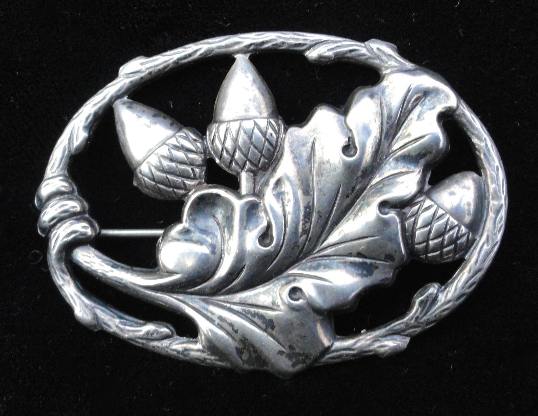 Sterling Silver Victorian Acorn Brooch ~ 1880