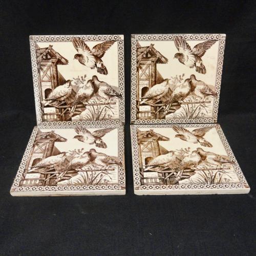 Four Aesthetic Movement Tile ~ BIRDS 1880