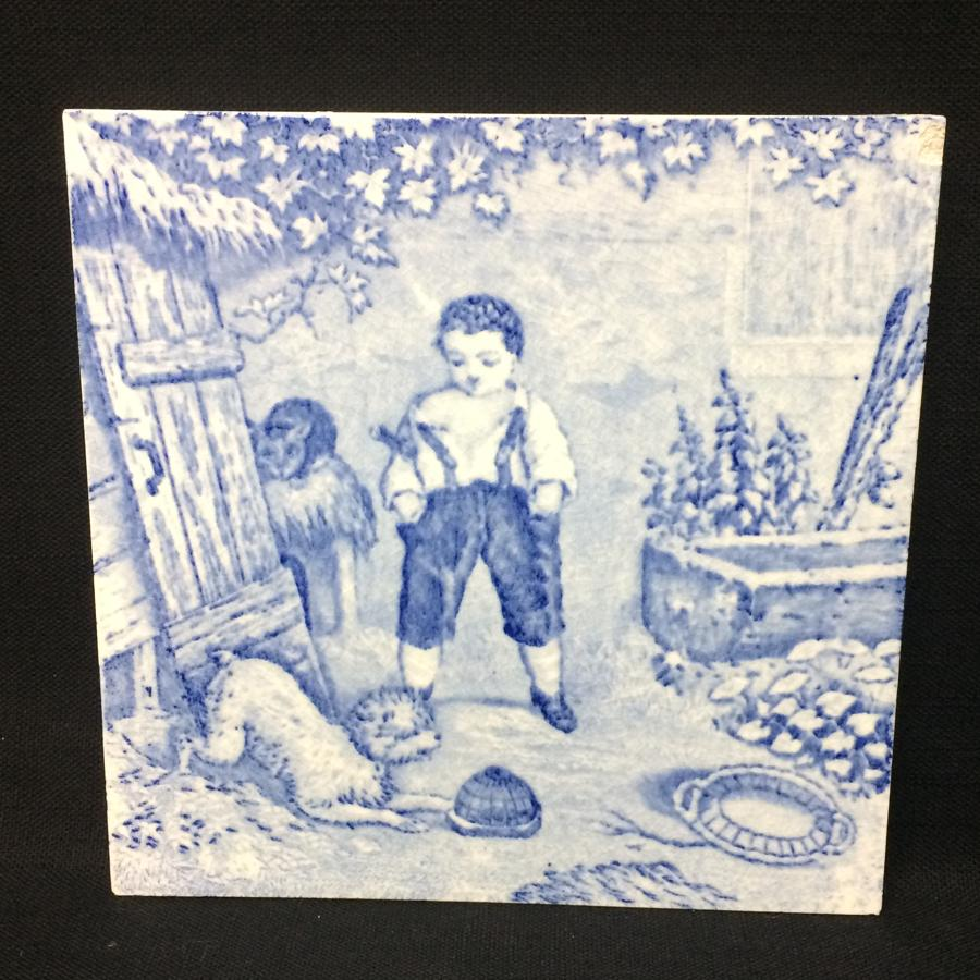 1880 ~ Tile Children Rural Life Victorian Bird Dog ~ 1879