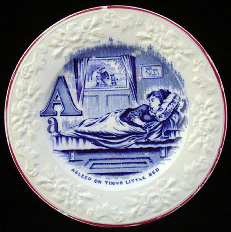 Flow Blue Alphabet A Plate ~ The Three Bears 1840