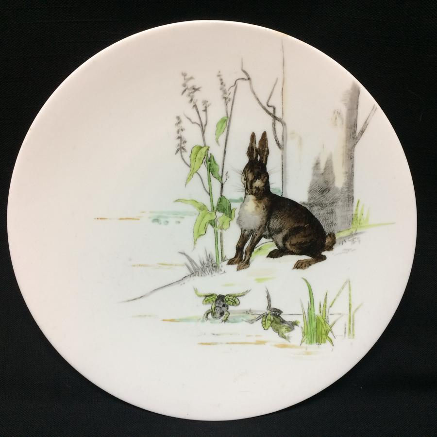 1880 Fontaine's Aesops Fables ~ Hare & Frogs Plate 1880