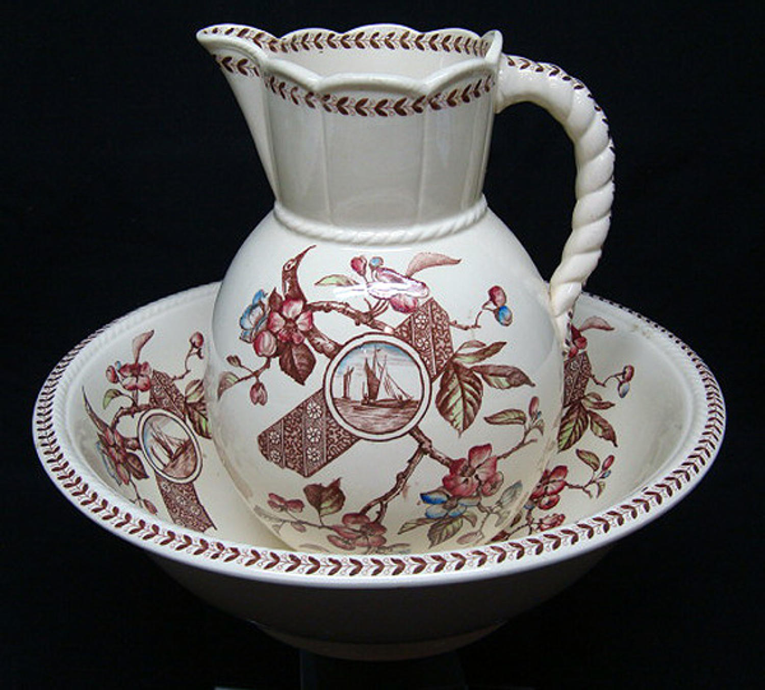 Brown Transferware Polychrome Basin & Jug ~ GORDON 1892