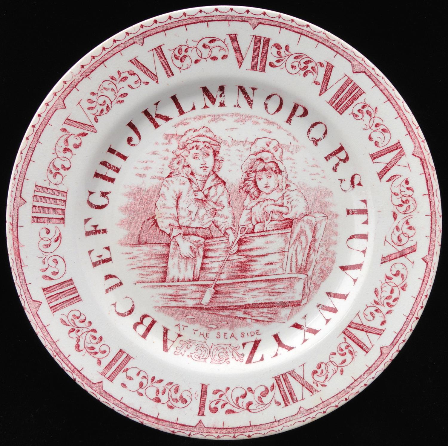 ABC RED Transfer Plate ~ Clock and Alphabet ~ At the Sea Side 1880