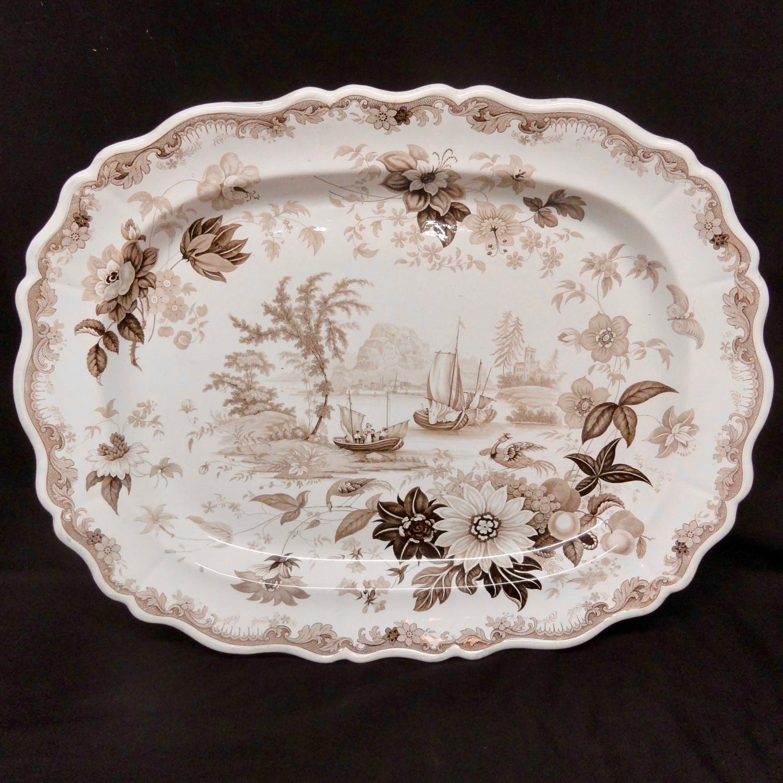 HUGE Staffordshire Brown Transferware Romantic Platter ~ 1830