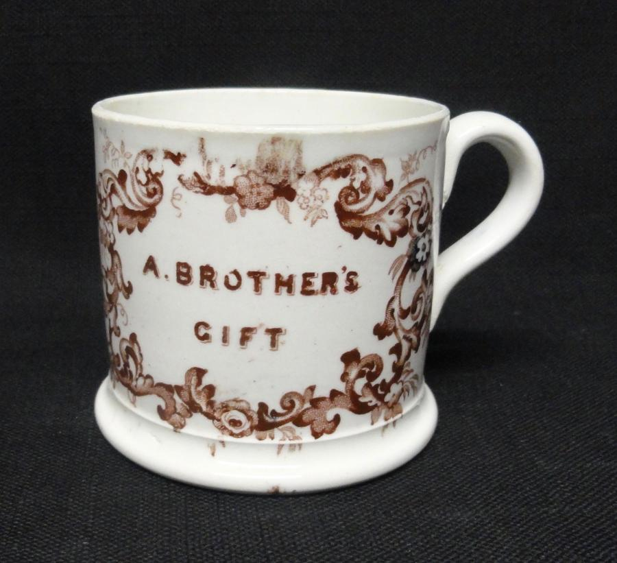 Pearlware Child's  Mug  ~  ANN ~ A BROTHER'S GIFT ~ 1830