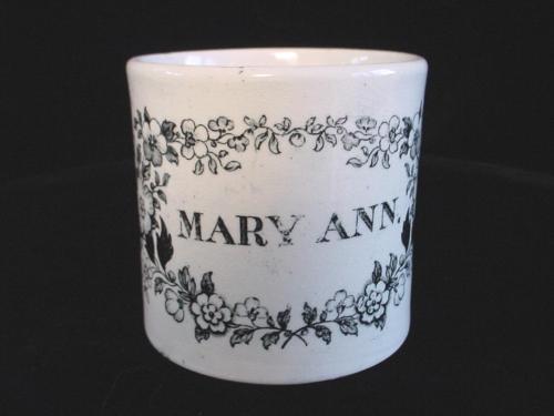 Pearlware Glaze Child's Mug Cup ~ MARY ANN 1840