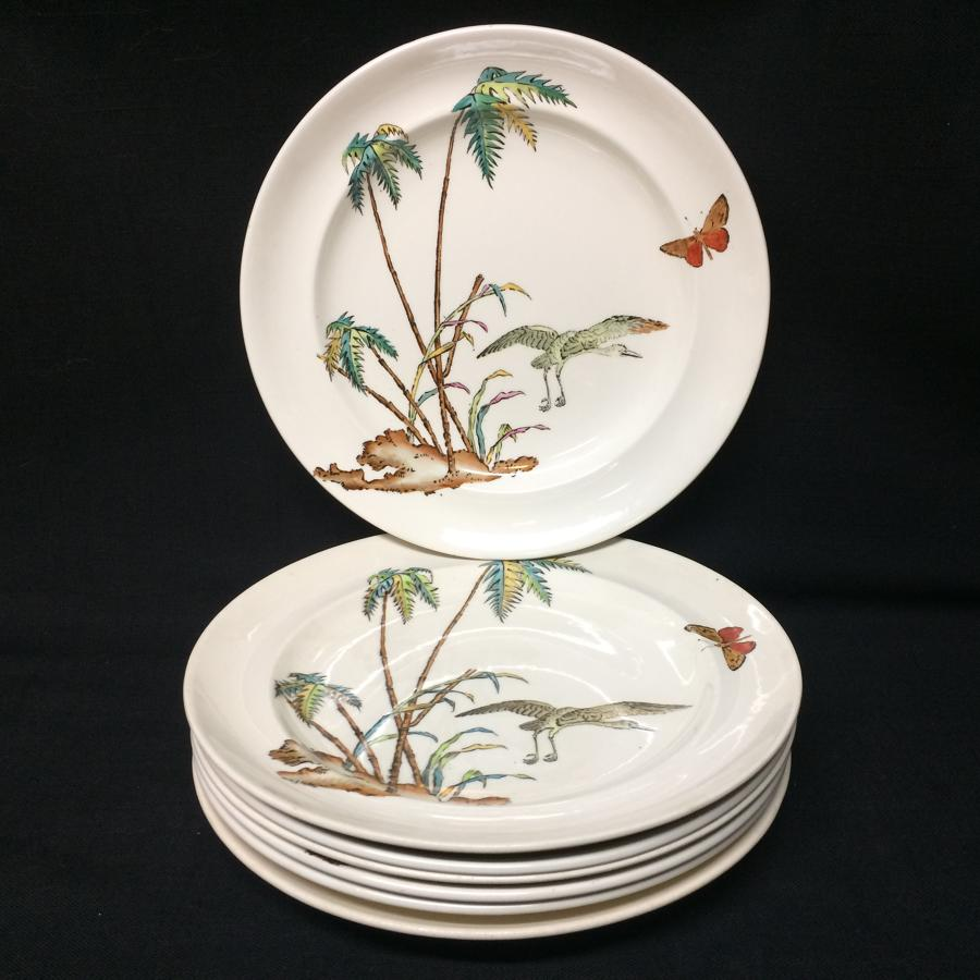 Early Copeland Exotic Polychrome 7 Plates ~ PALMS EGRET 1878