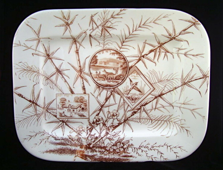1883 ~ Very Large Aesthetic Transferware Platter ~ Chatsworth