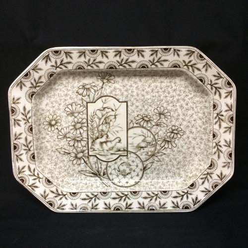 1884 ~ STAFFORSHIRE BROWN TRANSFERWARE PLATTER ~ DEVONSHIRE