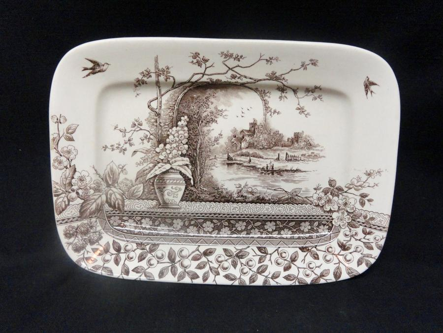 AESTHETIC BROWN TRANSFERWARE PLATTER ~ RUSTIC 1886