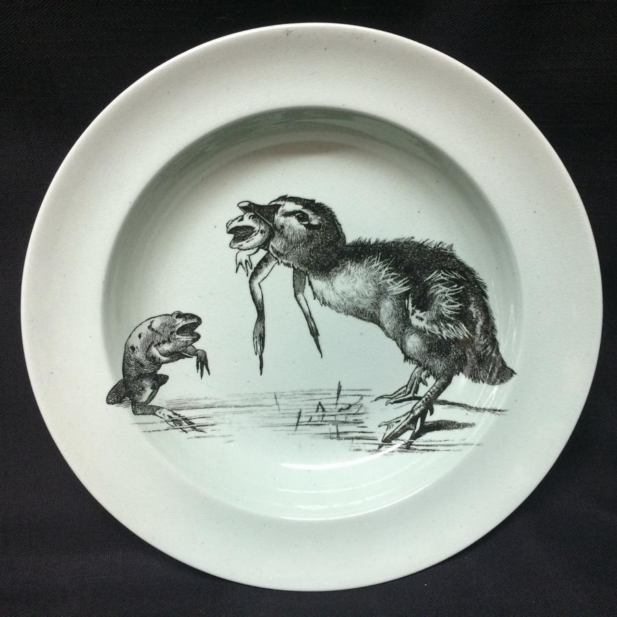 Duckling Frog Pierre Mallet and Leonce Transferware Deep Plate ~ 1870