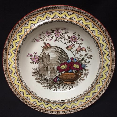 Aesthetic Brown Transferware Rice or Porridge Plate ~ Edinburg 1882