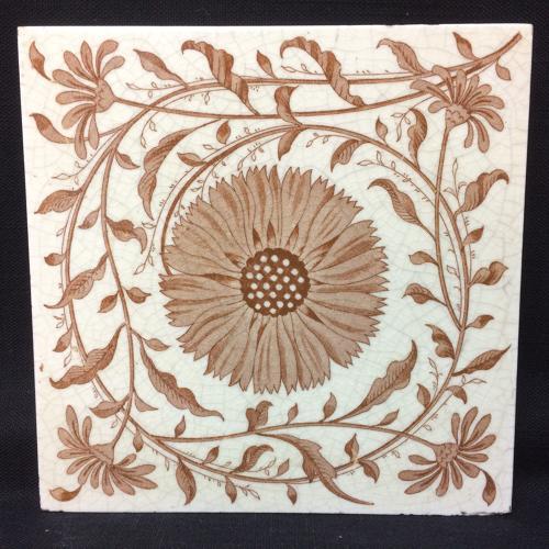 Aesthetic Transferware Tile ~ Coreopsis Tickseed ~ 1885