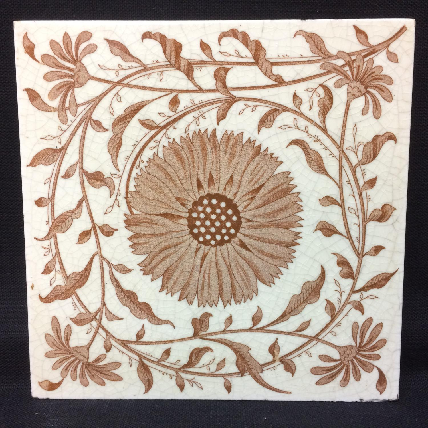 Aesthetic Transferware Tile ~ Coreopsis Tickseed ~ 1885