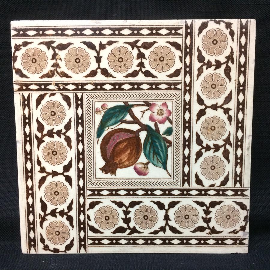 English Brown Transferware Tile ~ POMEGRANATES 1885