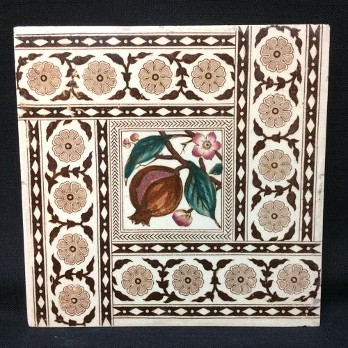 English Brown Transferware Tile ~ POMEGRANATES 1885